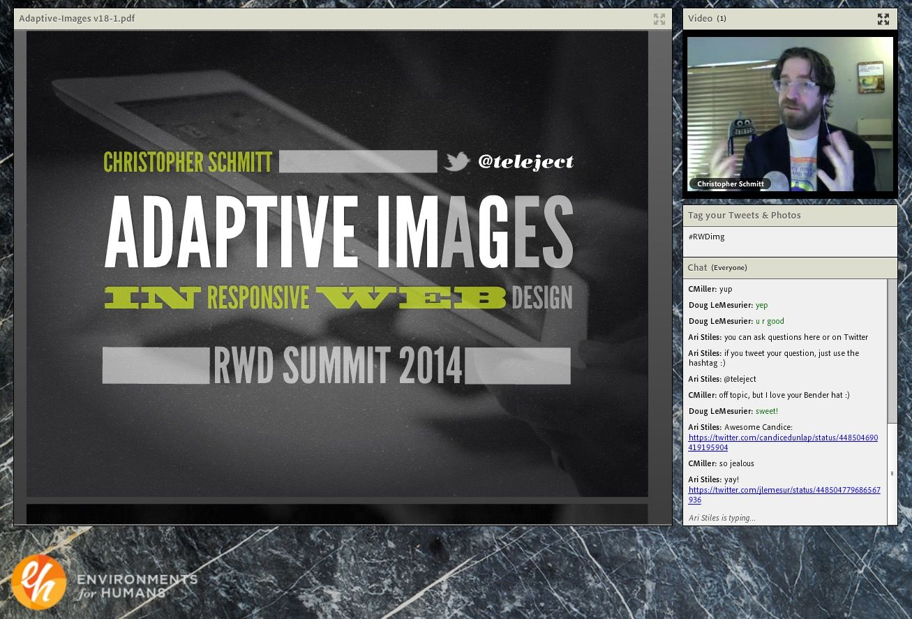 Screen Shot. Christopher Schmitt presenting his Adaptive Images talk remotely