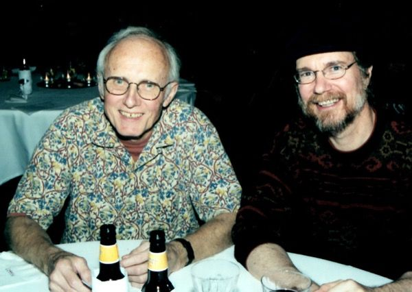 Jim Thatcher and Jim Allen sitting at a table