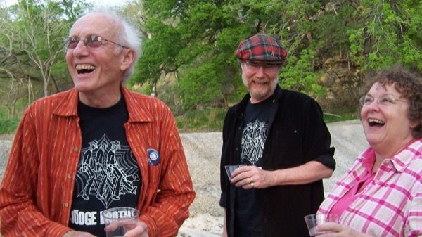 Jim Thatcher, Jim Allen and a woman laughing